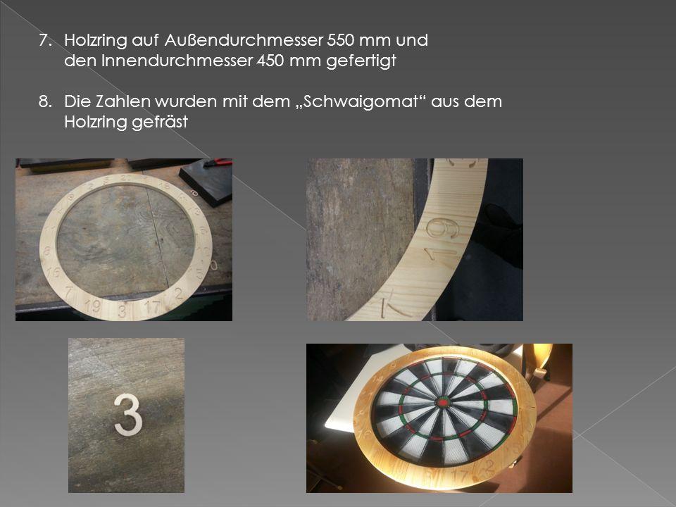 """4.Blechteile für die Umrandung der Scheibe auf der Tafelschere zugeschnitten 5.Rillen der Holzplatte auf dem """"Schwaigomaten"""" gefertigt 6.Den Messingdr"""