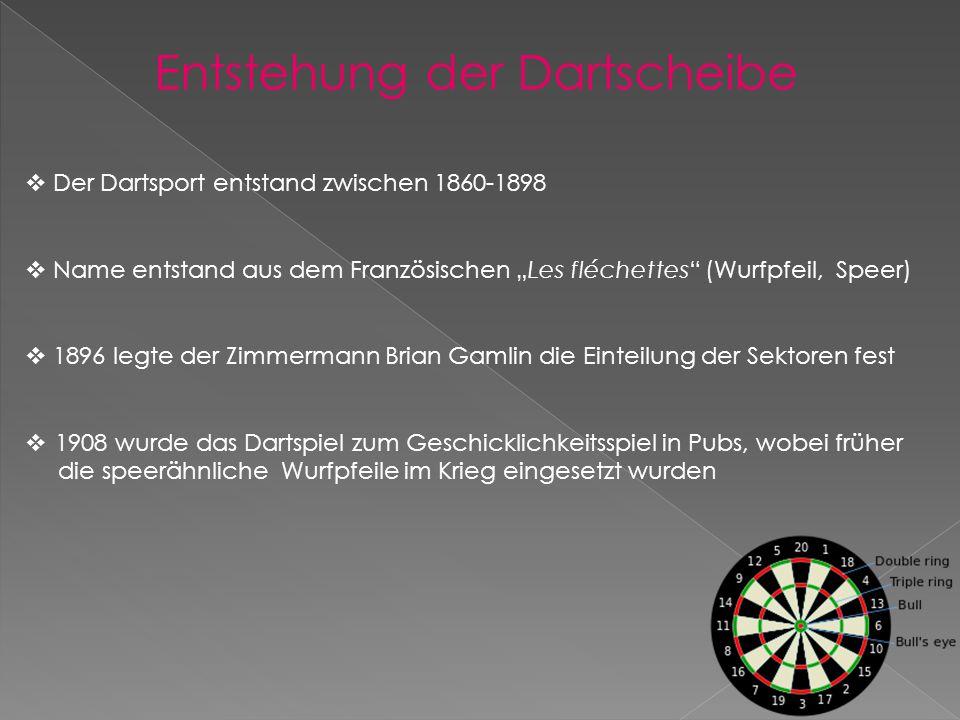 """Entstehung der Dartscheibe  Der Dartsport entstand zwischen 1860-1898  Name entstand aus dem Französischen """"Les fléchettes (Wurfpfeil, Speer)  1896 legte der Zimmermann Brian Gamlin die Einteilung der Sektoren fest  1908 wurde das Dartspiel zum Geschicklichkeitsspiel in Pubs, wobei früher die speerähnliche Wurfpfeile im Krieg eingesetzt wurden"""