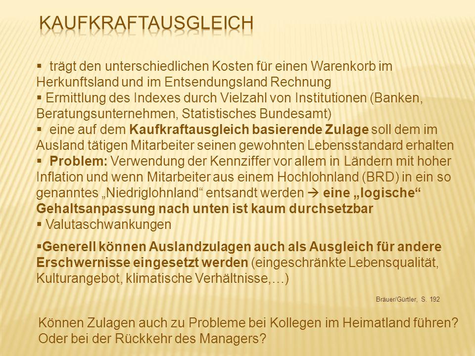 Bräuer/Gürtler, S. 192  trägt den unterschiedlichen Kosten für einen Warenkorb im Herkunftsland und im Entsendungsland Rechnung  Ermittlung des Inde