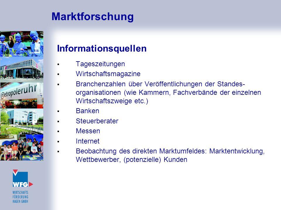 Marktforschung Informationsquellen  Tageszeitungen  Wirtschaftsmagazine  Branchenzahlen über Veröffentlichungen der Standes- organisationen (wie Ka
