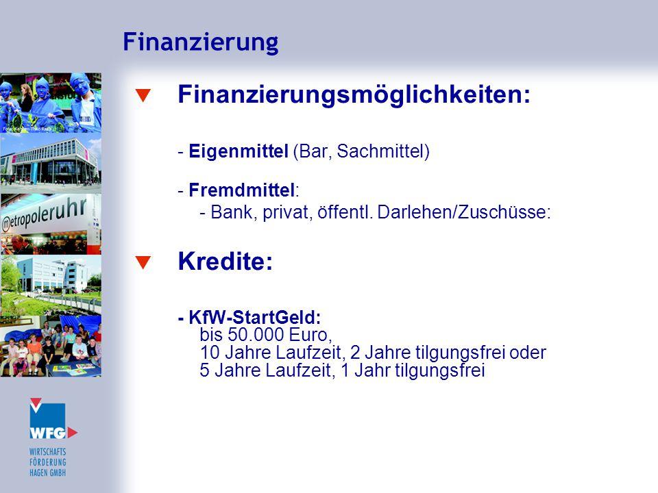 Finanzierung  Finanzierungsmöglichkeiten: - Eigenmittel (Bar, Sachmittel) - Fremdmittel: - Bank, privat, öffentl. Darlehen/Zuschüsse:  Kredite: - Kf