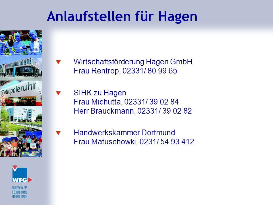 Anlaufstellen für Hagen  Wirtschaftsförderung Hagen GmbH Frau Rentrop, 02331/ 80 99 65  SIHK zu Hagen Frau Michutta, 02331/ 39 02 84 Herr Brauckmann