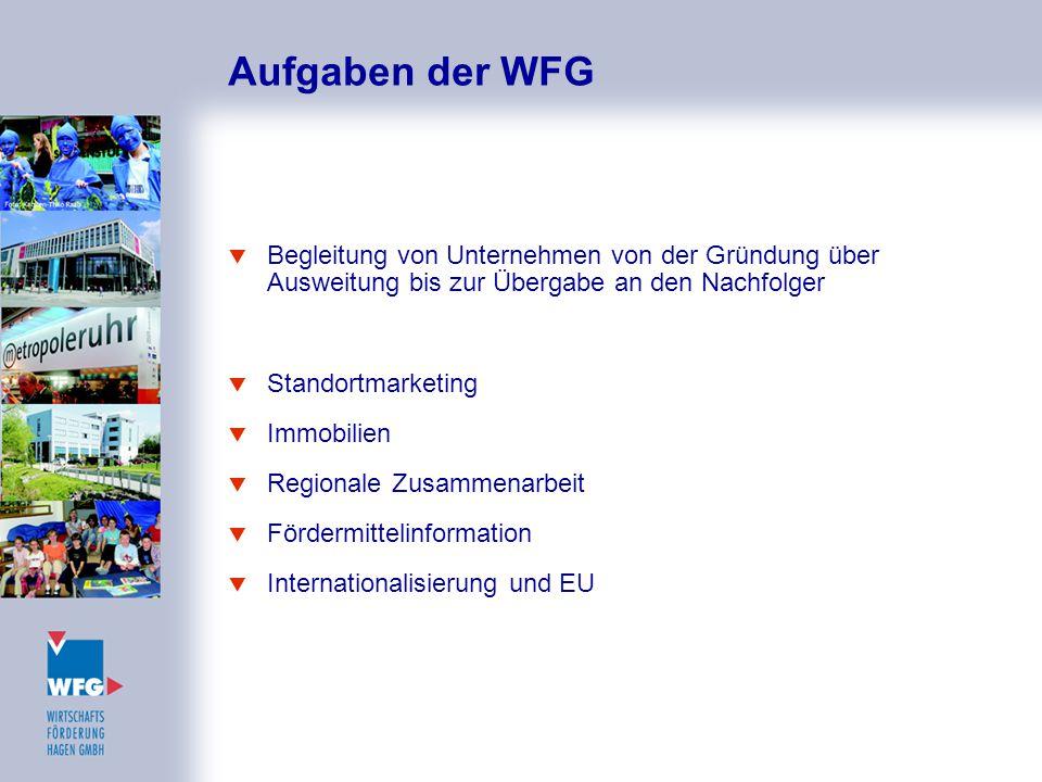 Aufgaben der WFG  Begleitung von Unternehmen von der Gründung über Ausweitung bis zur Übergabe an den Nachfolger  Standortmarketing  Immobilien  R