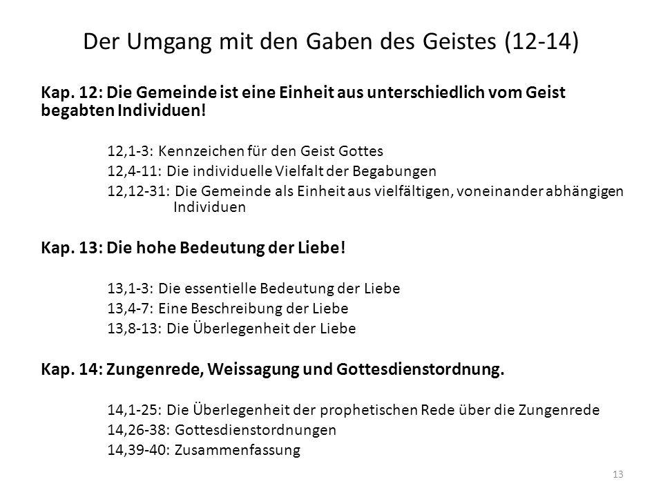 Der Umgang mit den Gaben des Geistes (12-14) Kap.