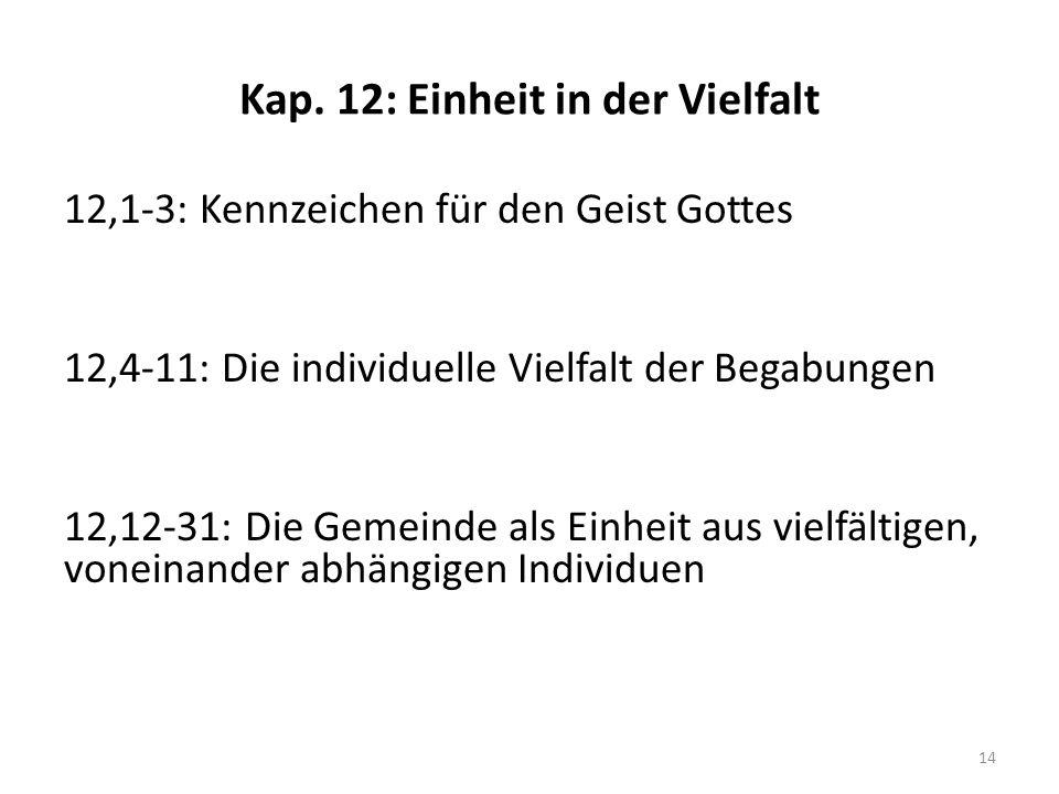 Kap. 12: Einheit in der Vielfalt 12,1-3: Kennzeichen für den Geist Gottes 12,4-11: Die individuelle Vielfalt der Begabungen 12,12-31: Die Gemeinde als