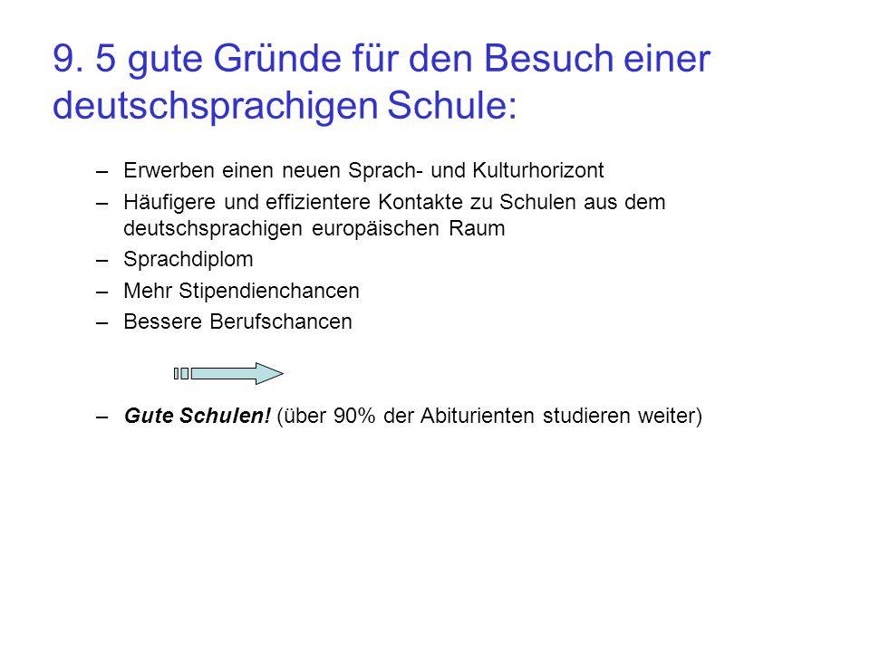 9. 5 gute Gründe für den Besuch einer deutschsprachigen Schule: –Erwerben einen neuen Sprach- und Kulturhorizont –Häufigere und effizientere Kontakte