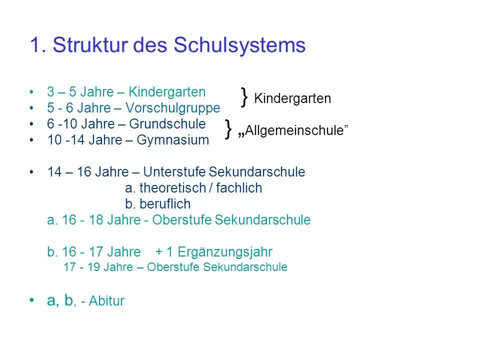 1. Struktur des Schulsystems 3 – 5 Jahre – Kindergarten 5 - 6 Jahre – Vorschulgruppe 6 -10 Jahre – Grundschule 10 -14 Jahre – Gymnasium 14 – 16 Jahre
