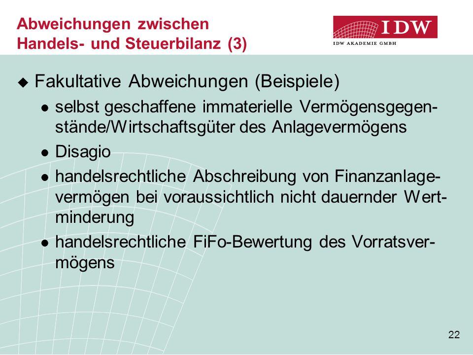 22 Abweichungen zwischen Handels- und Steuerbilanz (3)  Fakultative Abweichungen (Beispiele) selbst geschaffene immaterielle Vermögensgegen- stände/W
