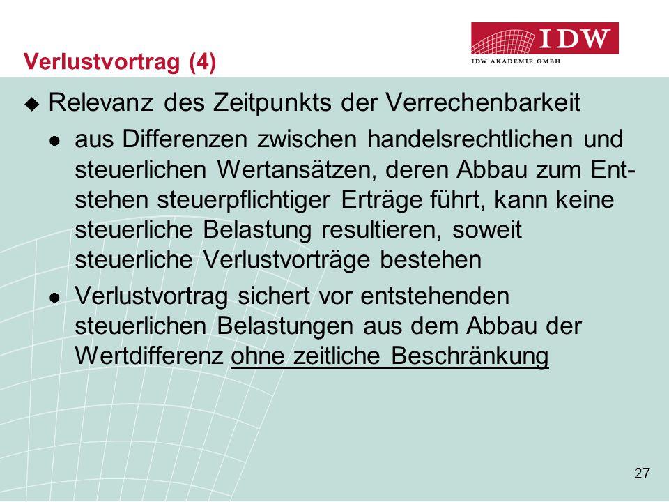 27 Verlustvortrag (4)  Relevanz des Zeitpunkts der Verrechenbarkeit aus Differenzen zwischen handelsrechtlichen und steuerlichen Wertansätzen, deren