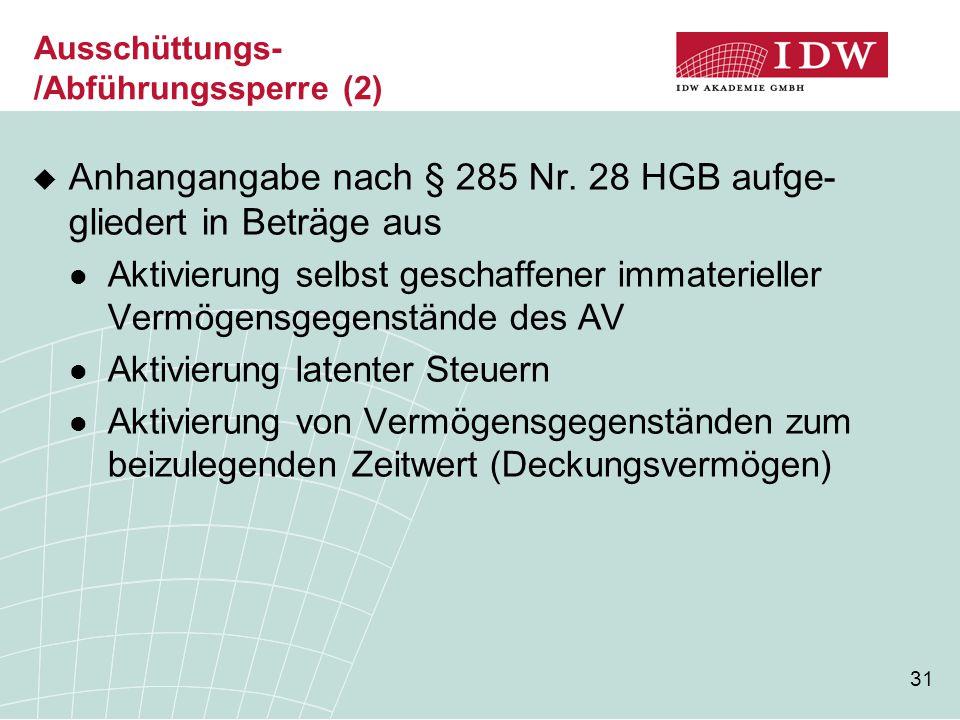 31 Ausschüttungs- /Abführungssperre (2)  Anhangangabe nach § 285 Nr. 28 HGB aufge- gliedert in Beträge aus Aktivierung selbst geschaffener immateriel