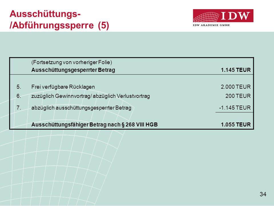 34 Ausschüttungs- /Abführungssperre (5) (Fortsetzung von vorheriger Folie) Ausschüttungsgesperrter Betrag1.145 TEUR 5.Frei verfügbare Rücklagen2.000 T