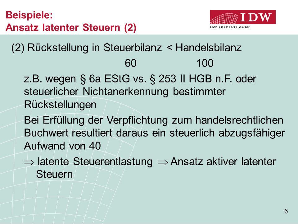 67 Konzernabschluss (6)  Wahlrecht für aktive Latenzen HB Il.