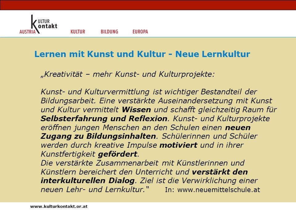 """""""Kreativität – mehr Kunst- und Kulturprojekte: Kunst- und Kulturvermittlung ist wichtiger Bestandteil der Bildungsarbeit."""