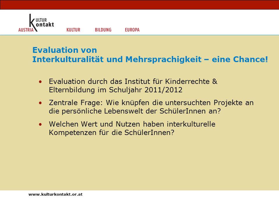 Evaluation durch das Institut für Kinderrechte & Elternbildung im Schuljahr 2011/2012 Zentrale Frage: Wie knüpfen die untersuchten Projekte an die persönliche Lebenswelt der SchülerInnen an.