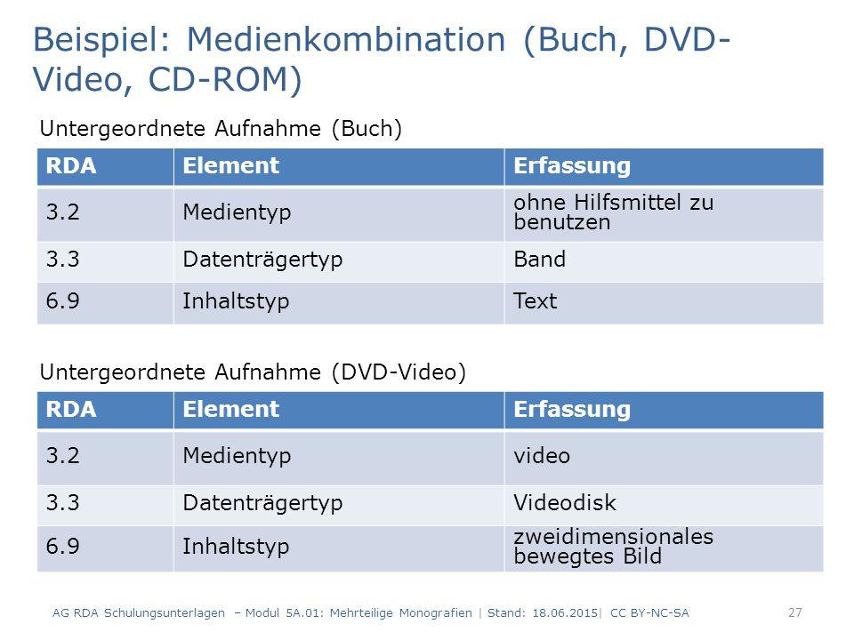 AG RDA Schulungsunterlagen – Modul 5A.01: Mehrteilige Monografien | Stand: 18.06.2015| CC BY-NC-SA 27 RDAElementErfassung 3.2Medientyp ohne Hilfsmittel zu benutzen 3.3DatenträgertypBand 6.9InhaltstypText Beispiel: Medienkombination (Buch, DVD- Video, CD-ROM) Untergeordnete Aufnahme (Buch) RDAElementErfassung 3.2Medientypvideo 3.3DatenträgertypVideodisk 6.9Inhaltstyp zweidimensionales bewegtes Bild Untergeordnete Aufnahme (DVD-Video)