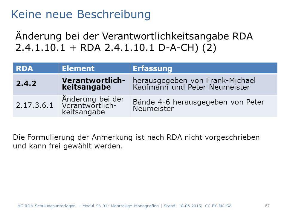 AG RDA Schulungsunterlagen – Modul 5A.01: Mehrteilige Monografien | Stand: 18.06.2015| CC BY-NC-SA 67 RDAElementErfassung 2.4.2 Verantwortlich- keitsangabe herausgegeben von Frank-Michael Kaufmann und Peter Neumeister 2.17.3.6.1 Änderung bei der Verantwortlich- keitsangabe Bände 4-6 herausgegeben von Peter Neumeister Keine neue Beschreibung Änderung bei der Verantwortlichkeitsangabe RDA 2.4.1.10.1 + RDA 2.4.1.10.1 D-A-CH) (2) Die Formulierung der Anmerkung ist nach RDA nicht vorgeschrieben und kann frei gewählt werden.
