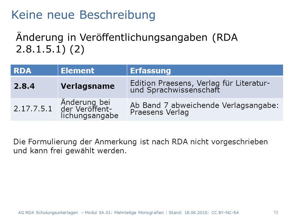 AG RDA Schulungsunterlagen – Modul 5A.01: Mehrteilige Monografien | Stand: 18.06.2015| CC BY-NC-SA 70 RDAElementErfassung 2.8.4Verlagsname Edition Praesens, Verlag für Literatur- und Sprachwissenschaft 2.17.7.5.1 Änderung bei der Veröffent- lichungsangabe Ab Band 7 abweichende Verlagsangabe: Praesens Verlag Keine neue Beschreibung Änderung in Veröffentlichungsangaben (RDA 2.8.1.5.1) (2) Die Formulierung der Anmerkung ist nach RDA nicht vorgeschrieben und kann frei gewählt werden.