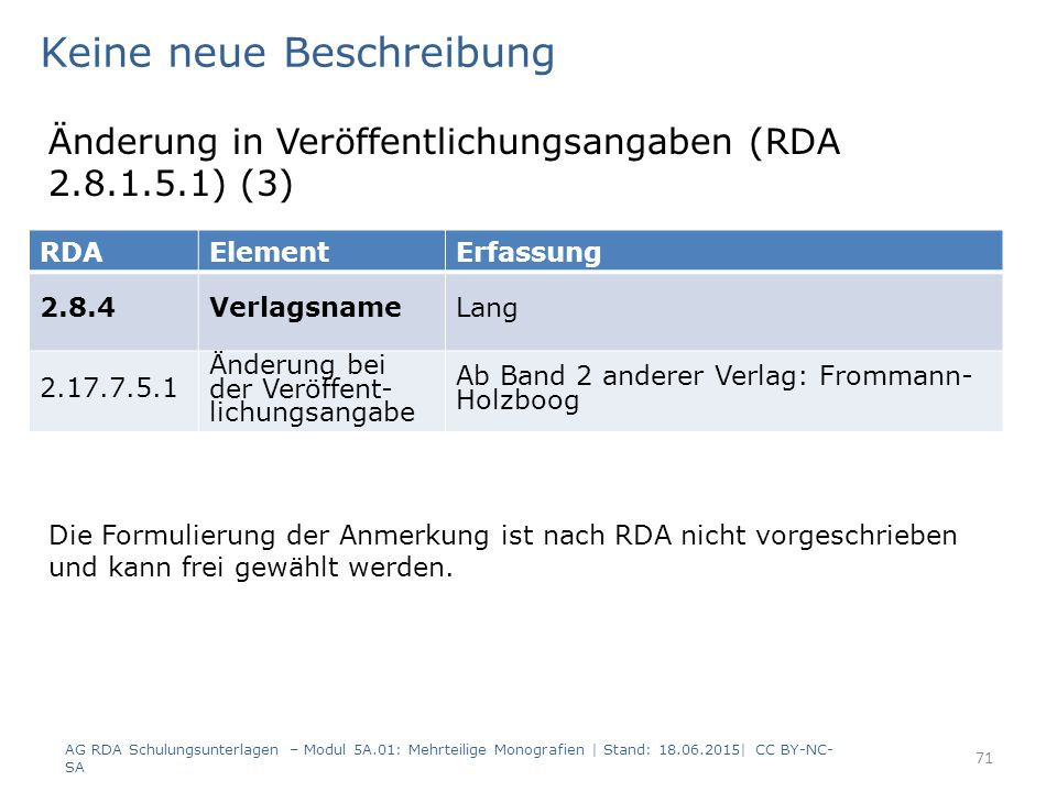 AG RDA Schulungsunterlagen – Modul 5A.01: Mehrteilige Monografien | Stand: 18.06.2015| CC BY-NC- SA 71 RDAElementErfassung 2.8.4VerlagsnameLang 2.17.7.5.1 Änderung bei der Veröffent- lichungsangabe Ab Band 2 anderer Verlag: Frommann- Holzboog Keine neue Beschreibung Änderung in Veröffentlichungsangaben (RDA 2.8.1.5.1) (3) Die Formulierung der Anmerkung ist nach RDA nicht vorgeschrieben und kann frei gewählt werden.