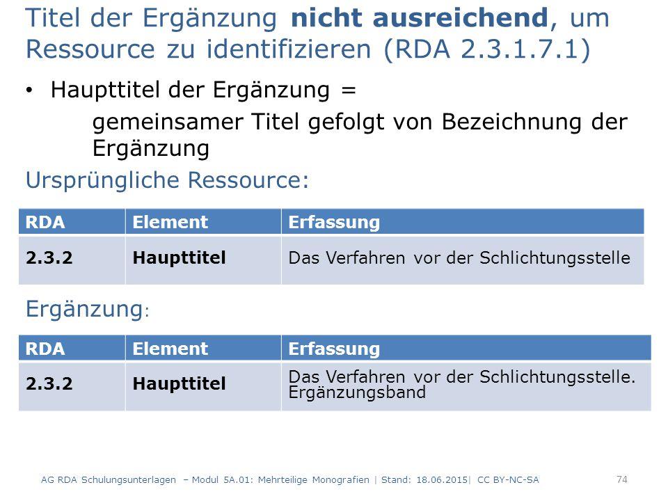 Titel der Ergänzung nicht ausreichend, um Ressource zu identifizieren (RDA 2.3.1.7.1) Haupttitel der Ergänzung = gemeinsamer Titel gefolgt von Bezeichnung der Ergänzung Ursprüngliche Ressource: Ergänzung : AG RDA Schulungsunterlagen – Modul 5A.01: Mehrteilige Monografien | Stand: 18.06.2015| CC BY-NC-SA 74 RDAElementErfassung 2.3.2HaupttitelDas Verfahren vor der Schlichtungsstelle RDAElementErfassung 2.3.2Haupttitel Das Verfahren vor der Schlichtungsstelle.