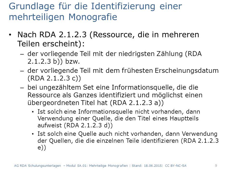 AG RDA Schulungsunterlagen – Modul 5A.01: Mehrteilige Monografien   Stand: 18.06.2015  CC BY-NC-SA 70 RDAElementErfassung 2.8.4Verlagsname Edition Praesens, Verlag für Literatur- und Sprachwissenschaft 2.17.7.5.1 Änderung bei der Veröffent- lichungsangabe Ab Band 7 abweichende Verlagsangabe: Praesens Verlag Keine neue Beschreibung Änderung in Veröffentlichungsangaben (RDA 2.8.1.5.1) (2) Die Formulierung der Anmerkung ist nach RDA nicht vorgeschrieben und kann frei gewählt werden.