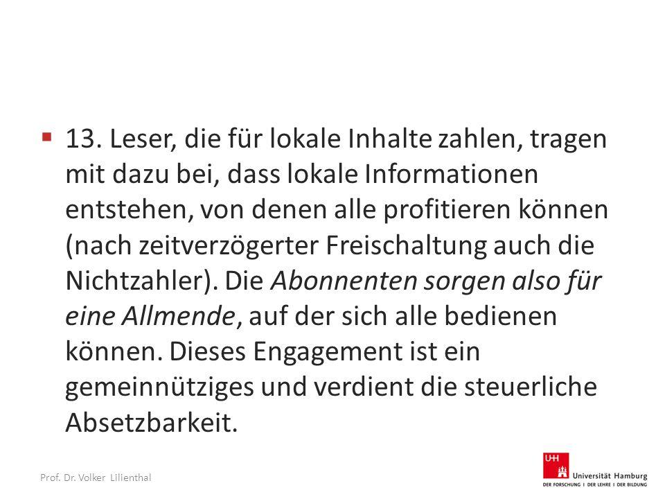 Prof. Dr. Volker Lilienthal  13.