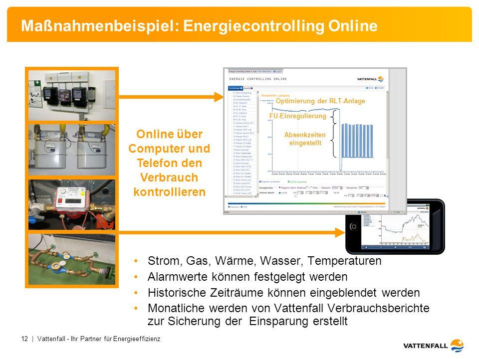 12 | Vattenfall - Ihr Partner für Energieeffizienz Strom, Wärme, Wasserzählung Maßnahmenbeispiel: Energiecontrolling Online Strom, Gas, Wärme, Wasser,