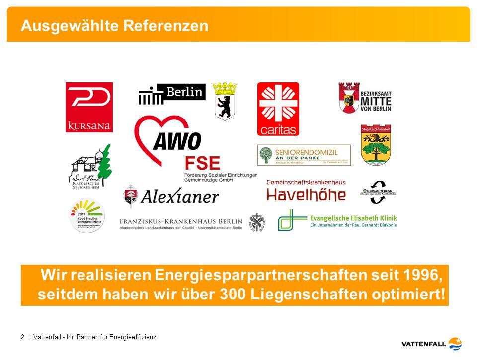 2 | Vattenfall - Ihr Partner für Energieeffizienz Ausgewählte Referenzen Wir realisieren Energiesparpartnerschaften seit 1996, seitdem haben wir über