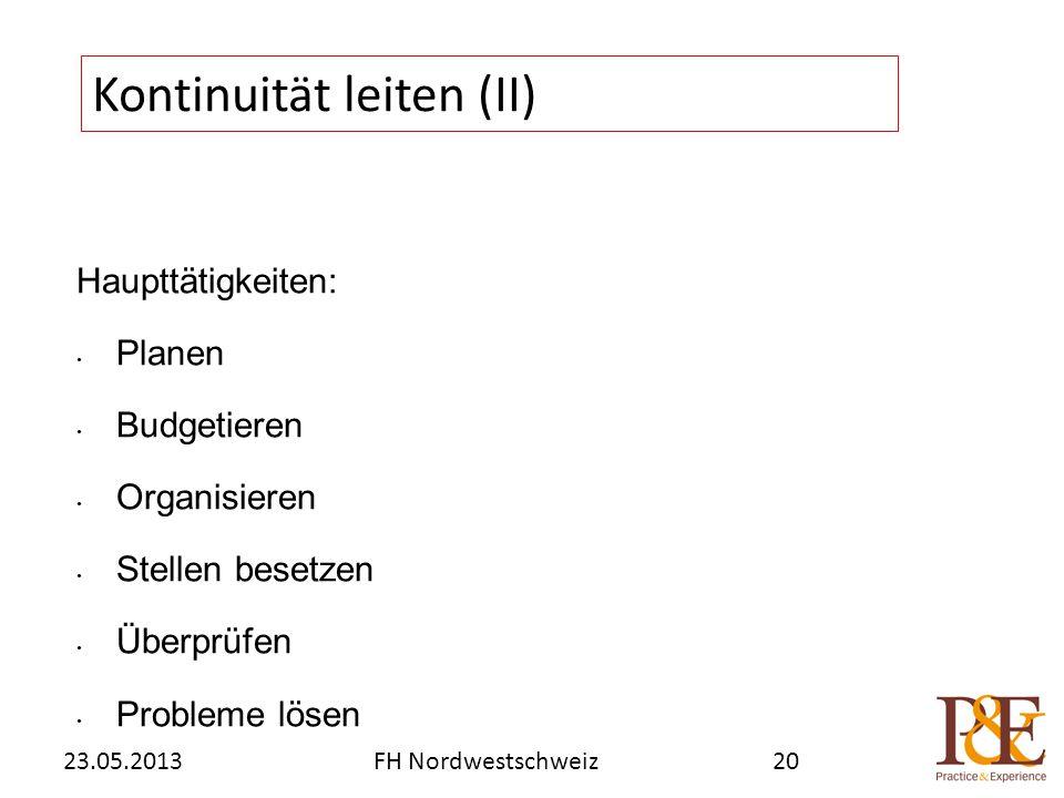 Haupttätigkeiten: Planen Budgetieren Organisieren Stellen besetzen Überprüfen Probleme lösen Kontinuität leiten (II) FH Nordwestschweiz23.05.201320