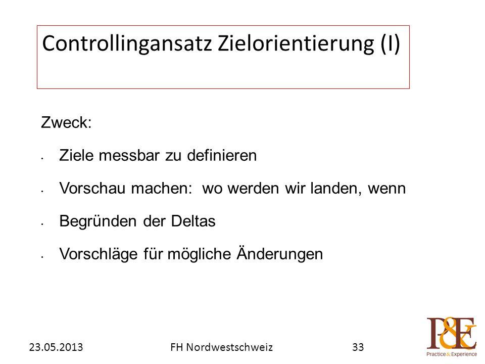 Zweck: Ziele messbar zu definieren Vorschau machen: wo werden wir landen, wenn Begründen der Deltas Vorschläge für mögliche Änderungen Controllingansatz Zielorientierung (I) FH Nordwestschweiz23.05.201333