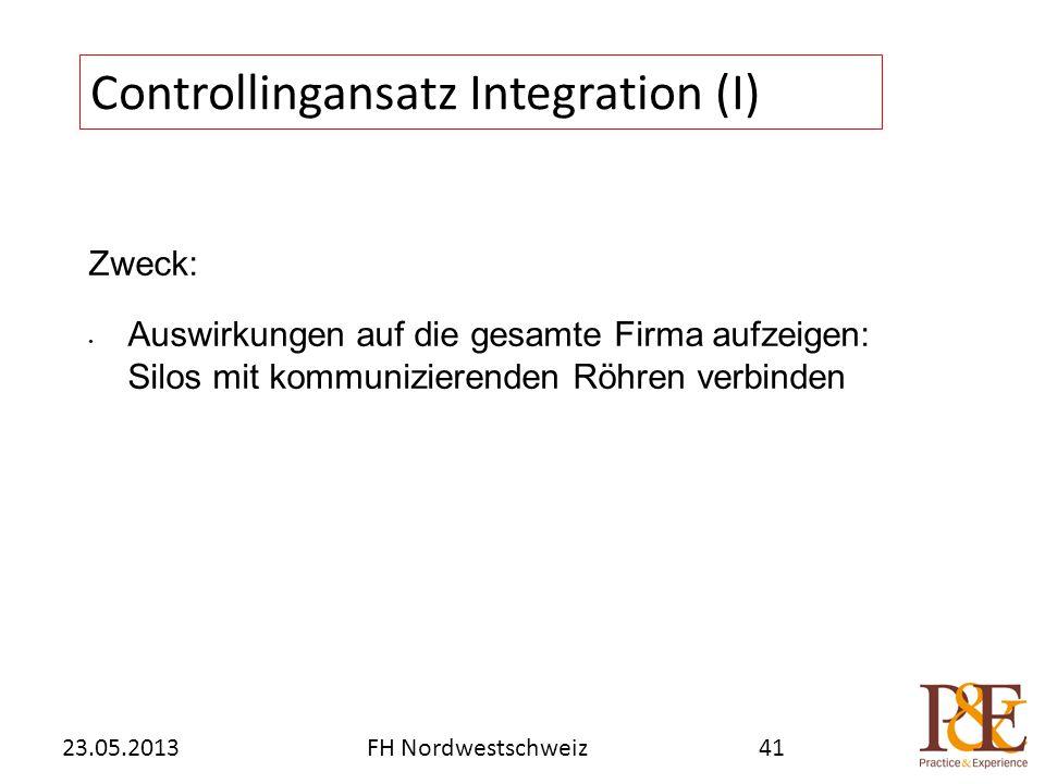 Zweck: Auswirkungen auf die gesamte Firma aufzeigen: Silos mit kommunizierenden Röhren verbinden Controllingansatz Integration (I) FH Nordwestschweiz23.05.201341