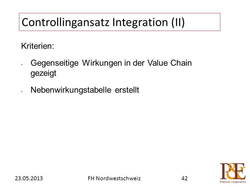 Kriterien: Gegenseitige Wirkungen in der Value Chain gezeigt Nebenwirkungstabelle erstellt Controllingansatz Integration (II) FH Nordwestschweiz23.05.201342