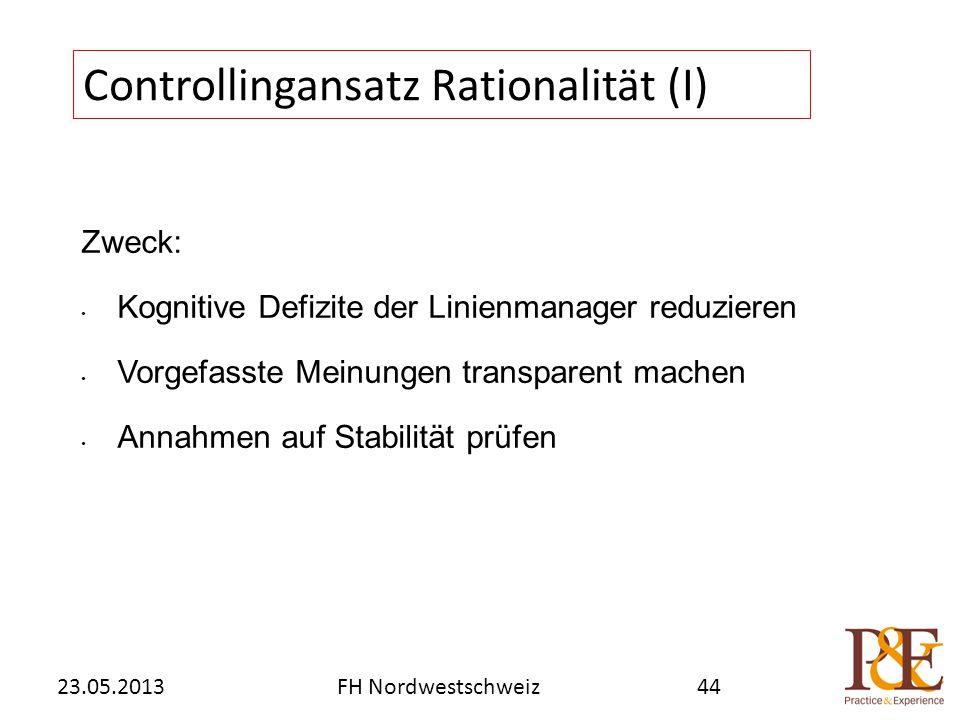 Zweck: Kognitive Defizite der Linienmanager reduzieren Vorgefasste Meinungen transparent machen Annahmen auf Stabilität prüfen Controllingansatz Rationalität (I) FH Nordwestschweiz23.05.201344