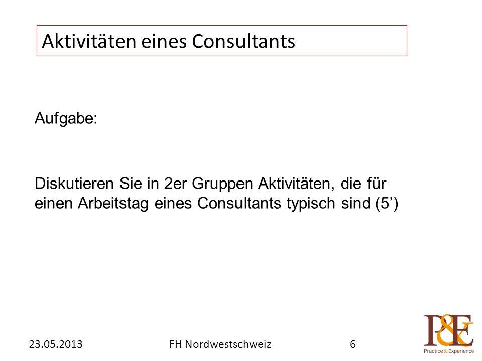 Aufgabe: Diskutieren Sie in 2er Gruppen Aktivitäten, die für einen Arbeitstag eines Consultants typisch sind (5') Aktivitäten eines Consultants FH Nordwestschweiz23.05.20136
