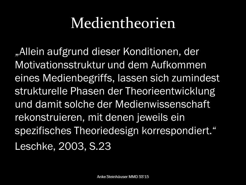 """Medientheorien """"Allein aufgrund dieser Konditionen, der Motivationsstruktur und dem Aufkommen eines Medienbegriffs, lassen sich zumindest strukturelle Phasen der Theorieentwicklung und damit solche der Medienwissenschaft rekonstruieren, mit denen jeweils ein spezifisches Theoriedesign korrespondiert. Leschke, 2003, S.23 Anke Steinhäuser MMD SS 15"""