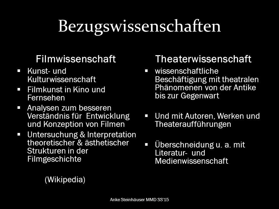 Bezugswissenschaften Filmtheorien Drei Schwerpunktbereiche: 1.Filmtheorie, Filmästhetik, Filmkunst 2.Filmgenre und Filmgeschichte 3.Markt: Produzenten, Verleih, Kinos, Zuschauer (Faulstich, 2004, S.