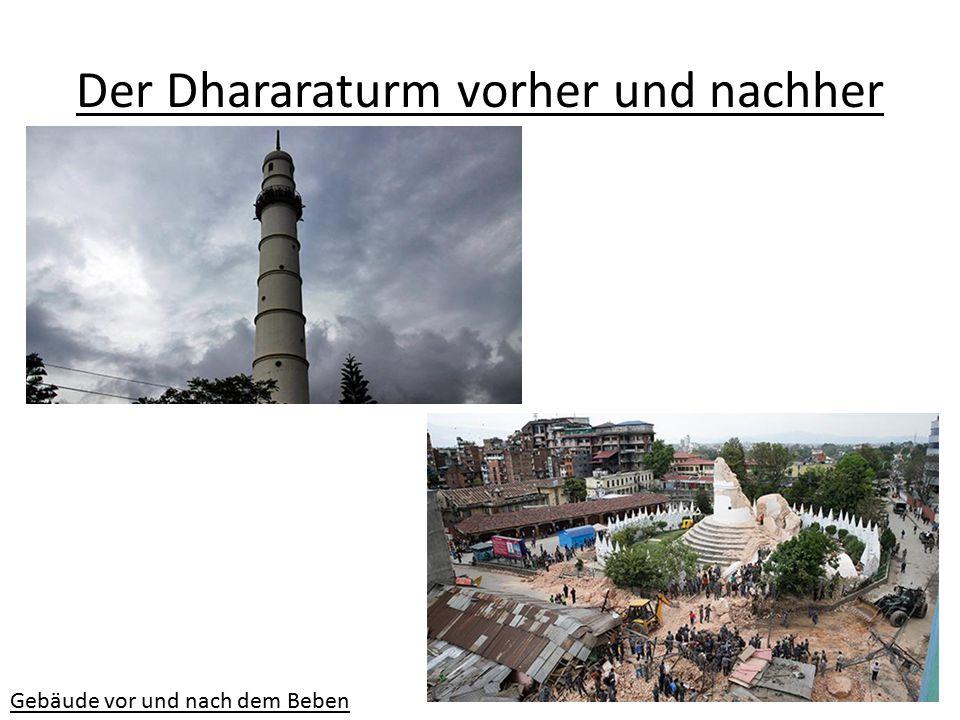 Der Dhararaturm vorher und nachher Gebäude vor und nach dem Beben