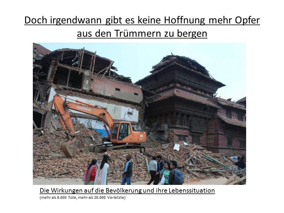 Doch irgendwann gibt es keine Hoffnung mehr Opfer aus den Trümmern zu bergen Die Wirkungen auf die Bevölkerung und ihre Lebenssituation (mehr als 8.60