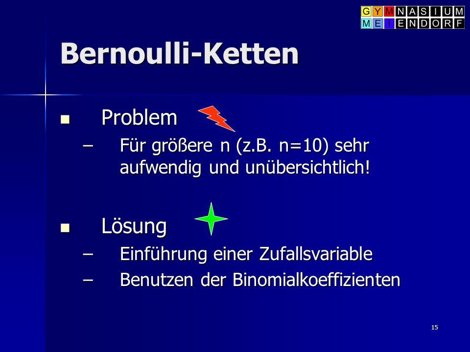15 Bernoulli-Ketten Problem Problem –Für größere n (z.B. n=10) sehr aufwendig und unübersichtlich! Lösung Lösung –Einführung einer Zufallsvariable –Be