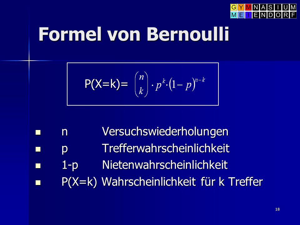 18 Formel von Bernoulli n Versuchswiederholungen n Versuchswiederholungen p Trefferwahrscheinlichkeit p Trefferwahrscheinlichkeit 1-p Nietenwahrschein