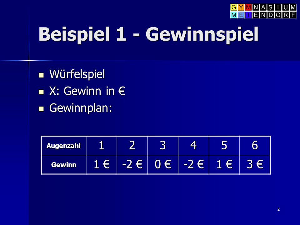 2 Beispiel 1 - Gewinnspiel Würfelspiel Würfelspiel X: Gewinn in € X: Gewinn in € Gewinnplan: Gewinnplan: Augenzahl 123456 Gewinn 1 € -2 € 0 € -2 € 1 €