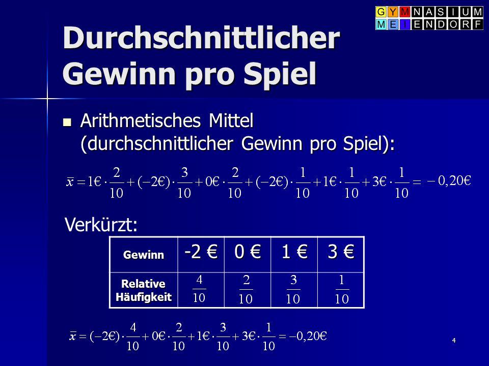 4 Durchschnittlicher Gewinn pro Spiel Arithmetisches Mittel (durchschnittlicher Gewinn pro Spiel): Arithmetisches Mittel (durchschnittlicher Gewinn pr