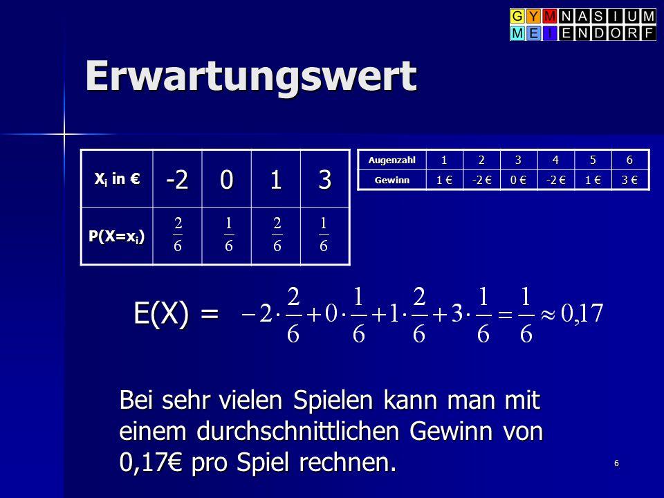 6 Erwartungswert X i in € -2013 P(X=x i ) E(X) = Bei sehr vielen Spielen kann man mit einem durchschnittlichen Gewinn von 0,17€ pro Spiel rechnen. Aug