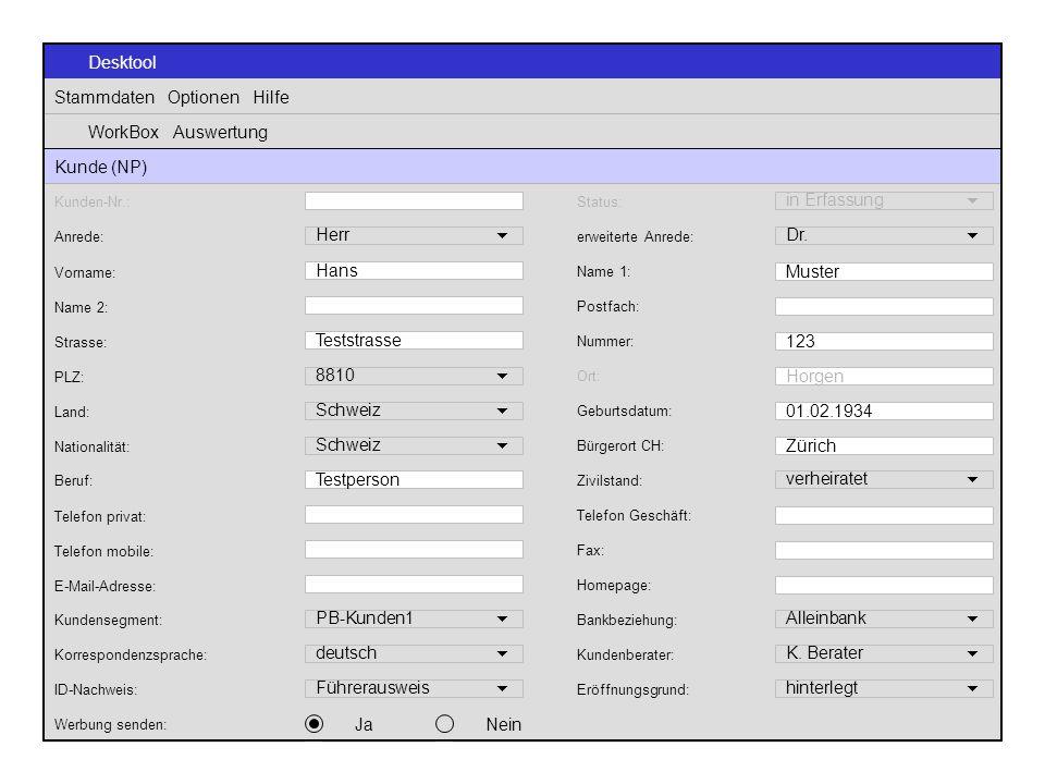 Desktool Stammdaten Optionen Hilfe WorkBox Auswertung Kunde (NP) Anrede: Herr  erweiterte Anrede: Dr.  Name 2: Postfach: PLZ: 8810  Ort: Horgen Tel