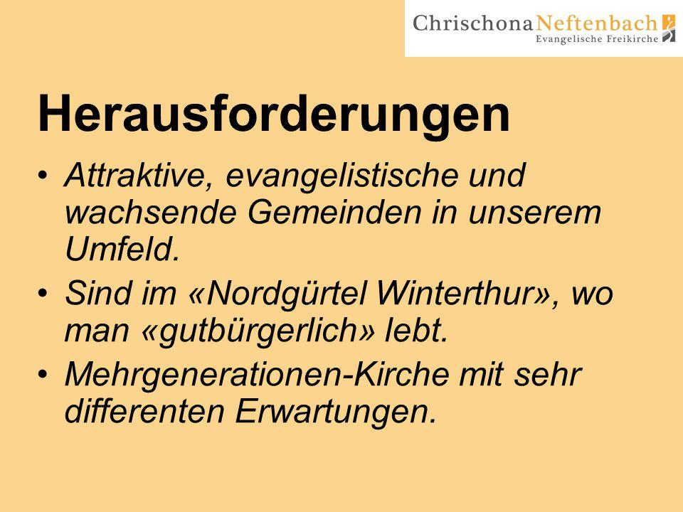 Herausforderungen Attraktive, evangelistische und wachsende Gemeinden in unserem Umfeld.