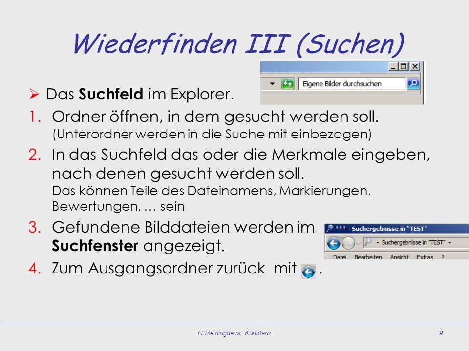 Wiederfinden III (Suchen)  Das Suchfeld im Explorer.