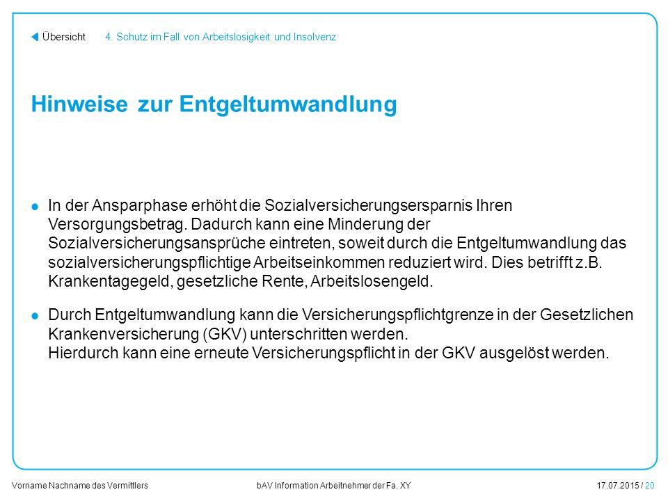 Vorname Nachname des Vermittlers bAV Information Arbeitnehmer der Fa.