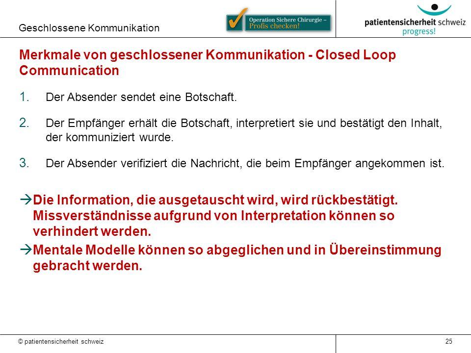 Geschlossene Kommunikation 25 Merkmale von geschlossener Kommunikation - Closed Loop Communication 1. Der Absender sendet eine Botschaft. 2. Der Empfä