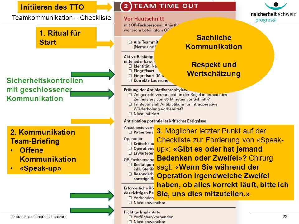 28 Teamkommunikation – Checkliste Sicherheitskontrollen mit geschlossener Kommunikation © patientensicherheit schweiz 2. Kommunikation Team-Briefing O