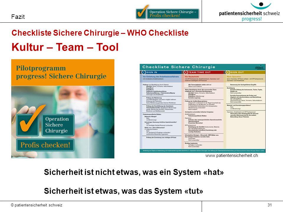 Fazit 31 Checkliste Sichere Chirurgie – WHO Checkliste Kultur – Team – Tool www.patientensicherheit.ch Sicherheit ist nicht etwas, was ein System «hat» Sicherheit ist etwas, was das System «tut» © patientensicherheit schweiz