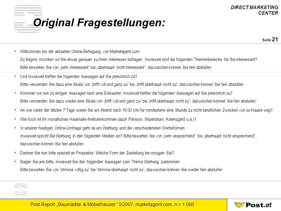 """DIRECT MARKETING CENTER Post.Report """"Baumärkte & Möbelhäuser """" 5/2007, marketagent.com, n = 1.000 Seite 21 Original Fragestellungen: Willkommen bei de"""